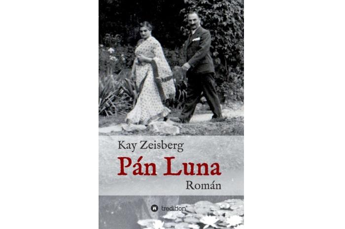 Návrh obálky knihy Pán Luna: Imrich Winter v spoločnosti neznámej ženy, pravdepodobne manželky jedného z maharadžov, ktorí navštívili Piešťany
